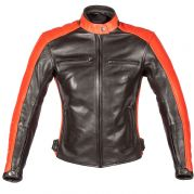 Spada Turismo Ladies Leather Jacket Black/Autumn Sun
